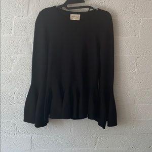 Bell sleeve black blouse